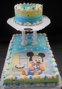 Cool Mickey Mouse 1St Birthday Whip Cream Cake With Edible Image Personalised Birthday Cards Bromeletsinfo