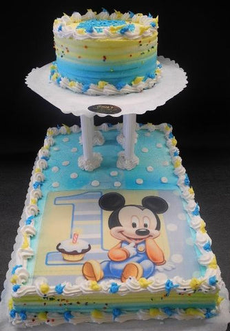 Mickey Mouse 1st Birthday Whip Cream Cake with Edible Image