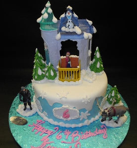 Frozen Theme 6th Birthday Fondant Cake with Toys