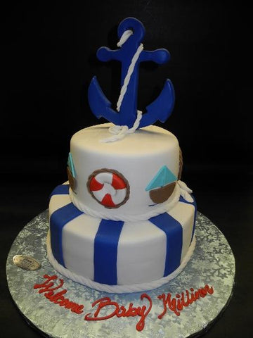 Nautical Baby Shower Fondant Cake