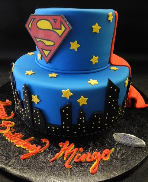Superman Fondant Cake with Edible Cape