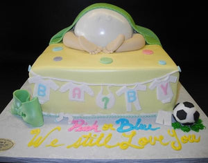 Baby Bottom Gender Reveal Fondant  Cake
