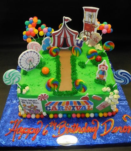 Circus Icing Cake with Fondant 2D Decoration