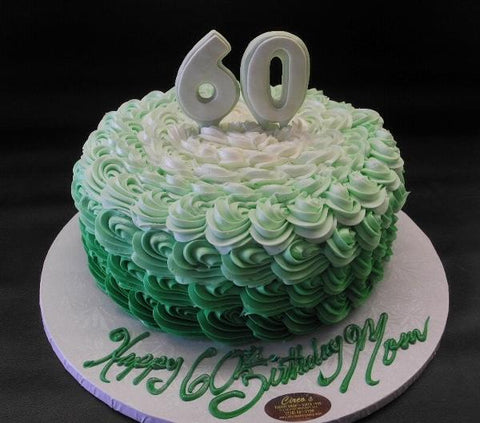 Rosebud Ombre 60th Birthday Cake