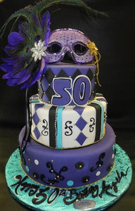 Mardi Gra Purple 50th Birthday Fondant Cake