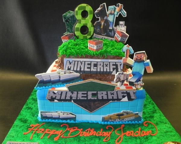 Minecraft Fondant Cake with Edible Images