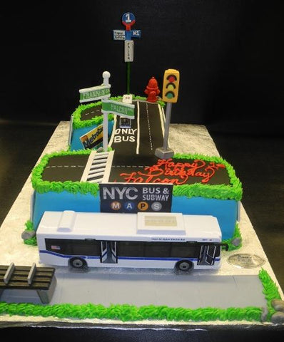 Number 1 Fondant Cake with Bus Decoration and Sign