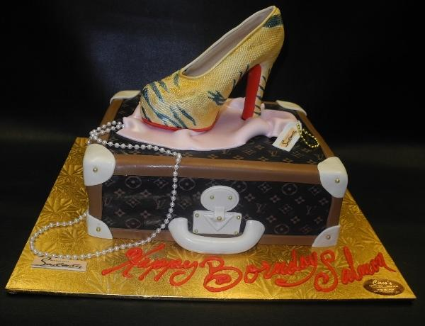Loui Vuitton Suitcase with Edible Fondant 3D Shoe