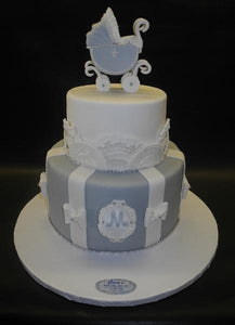 Stroller Baby Shower Cake Silver and White