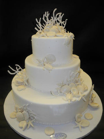 Sea Shells, Sea Theme Wedding Cake