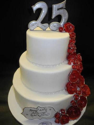 White Anniversary Fondant Cake with Red Roses Cascading Down