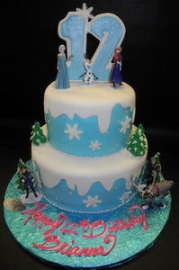 Frozen  Tiered Cake with Frozen Toys to Decorate
