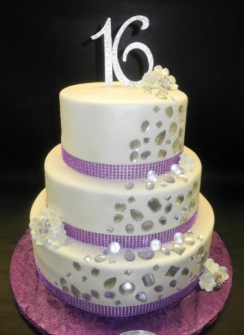 Sweet 16 Diamond Lavender and White Fondant Cake