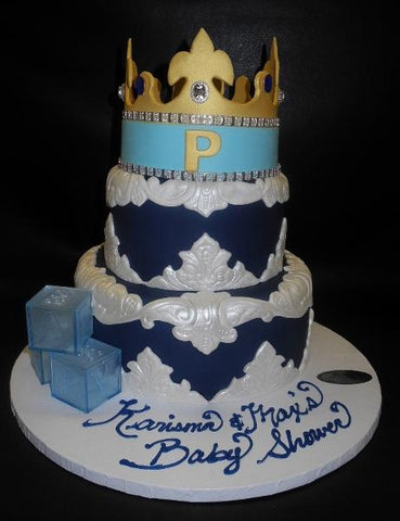 Prince Black and White Cake with Edible Crown