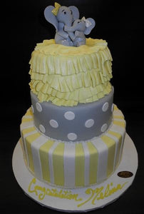 Elephant Baby Shower Fondant Cake