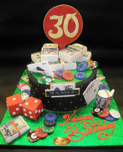 Casino Fondant 30th Birthday Cake