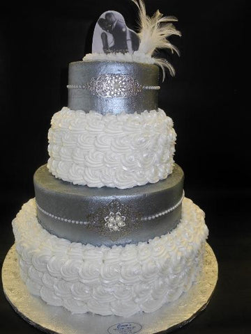 Rosette  and silver icing wedding cake