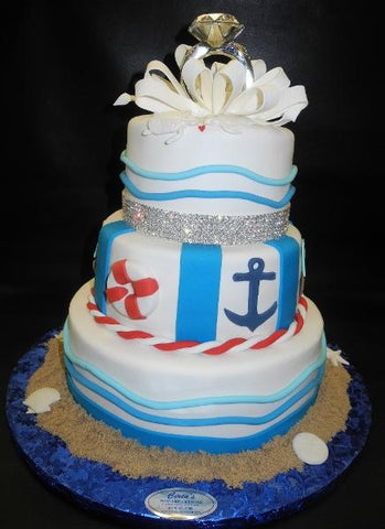 Sea Theme Engagement Cake