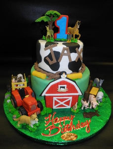 Farm 1st Birthday Fondant Cake