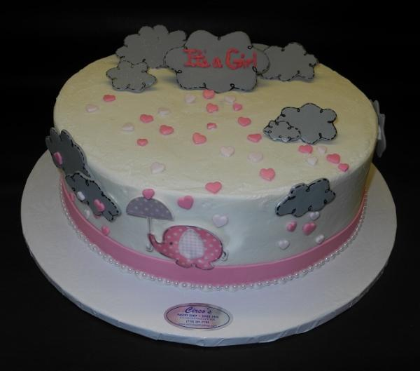 Elephant Icing Cake with Fondant Clouds