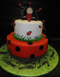 Lady Bug Fondant Baby Shower Cake