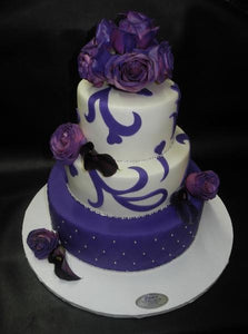Purple and White Fondant Wedding Cake