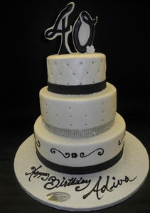 Black and White 40th Birthday Fondant Cake