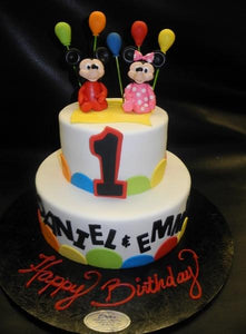 Minnie and Mickey Balloon 1st birthday Cake