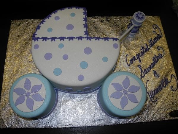 Stroller Fondant Cake Lavender and Turquoise