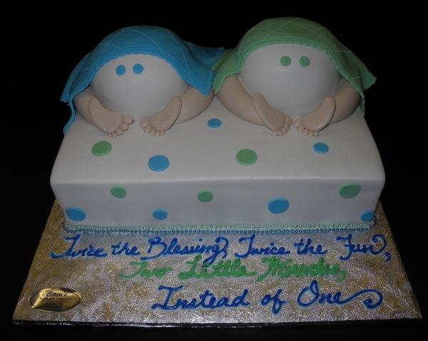 Twin Baby Bottom Fondant Cake