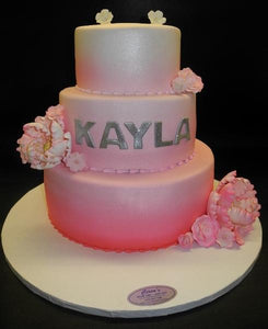 Faded Pink and White Fondant Cake