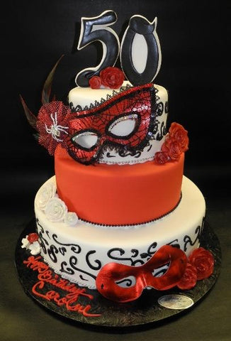 Mask Red and White 50th Birthday Cak