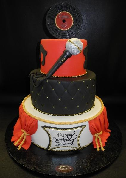 Musical Microphone Disk Fondant Cake