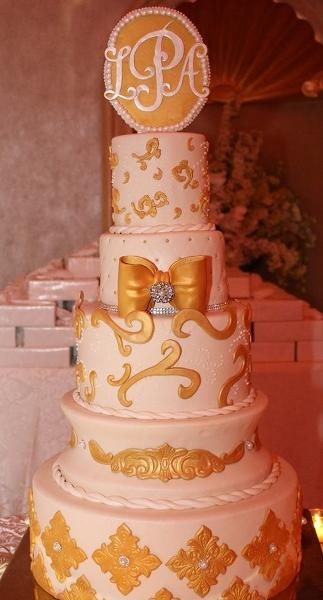 Gold and White Wedding Cake - W130 – Circo\'s Pastry Shop