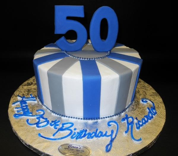 Blue and Grey 50th Birthday Cake