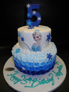 Frozen Fondant Rosebud Cake with Edible Number