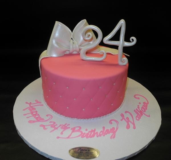Pink Diamond Imprint Cake with Edible Number and Bow