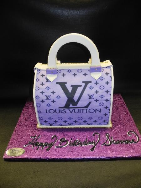 Louis Vuitton Purple Handbag Cake