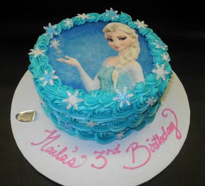 Frozen Rosebud Icing Cake with Edible Image on top