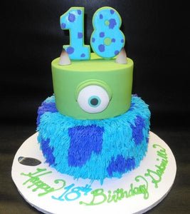 Monster Inc. Fondant Cake with Edible Number on top