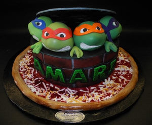 Ninja Turtle Fondant Cake with Edible Fondant Heads,TMNT, turtles
