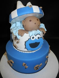 Cookie Monster Baby Popping Out Baby Shower Cake
