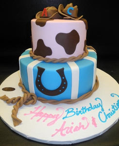 Cowgirl and Cowboy Fondant Birthday Cake