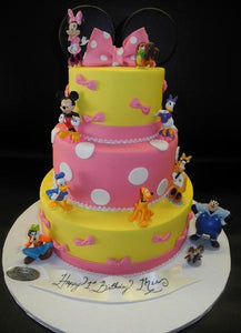 Minnie Mouse Yellow and Pink Fondant Cake