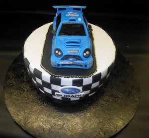 Subaru Edible 3D Fondant Cake with Checkerboard