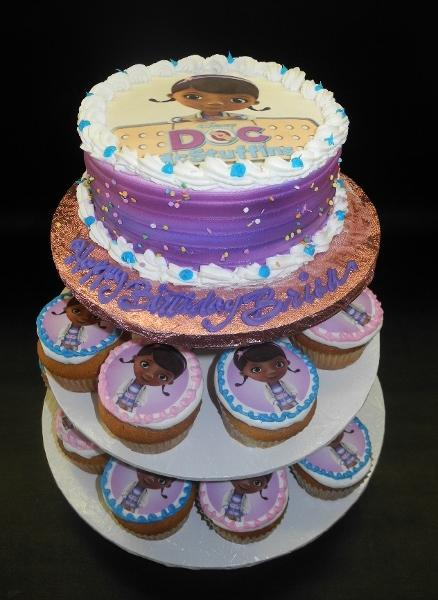 Doc Mcstuffins Whip Cream Cake and Cupcakes with Edible Image