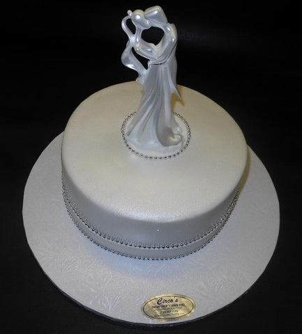 White Wedding One Tier Fondant Cake with Pearls and Ornament to decorate