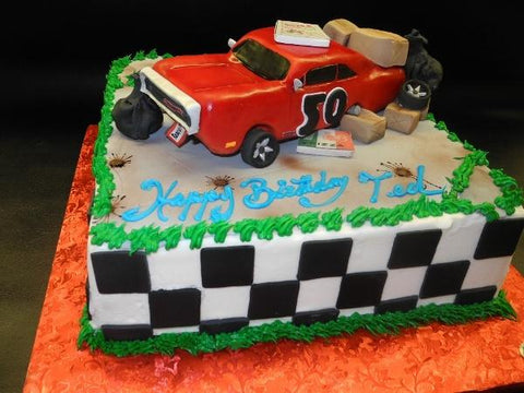 Icing Cake with Fondant Edible Car on top
