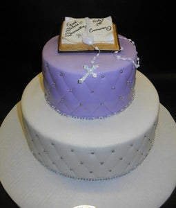 Bible Diamond Imprint Purple and White Fondant Cake