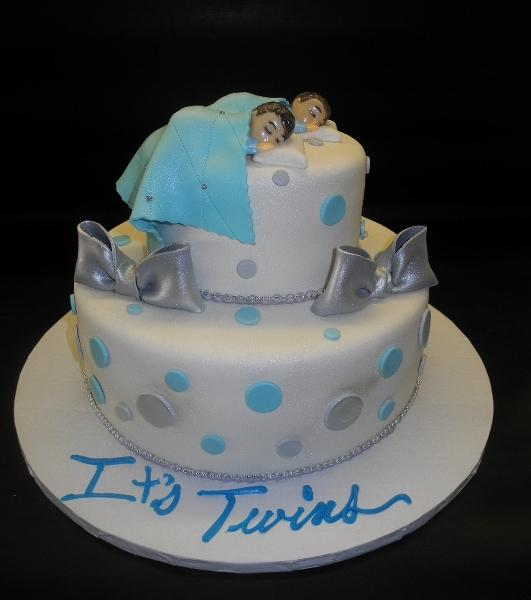 Twin Fondant Cake Silver and Blue